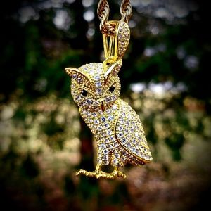 "24"" Gold Simulated Diamond OWL Pendant Necklace"